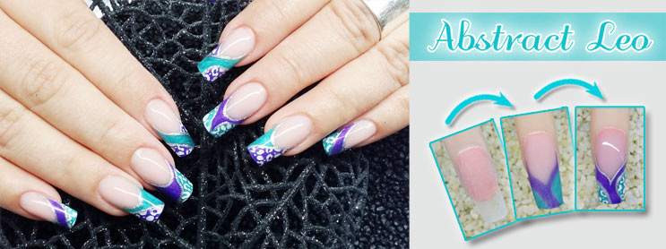 Abstrakte Nailart im Leo-Design
